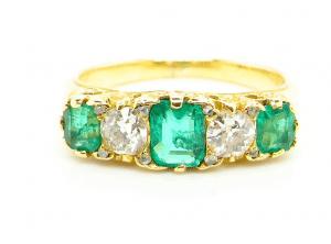 5 Stone emerald and diamond