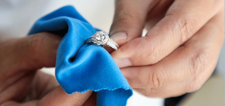 Jeweller hand polishing