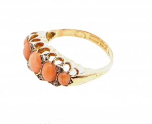 A Victorian coral and diamond ring