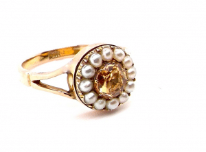 Topaz and pearl cluster ring