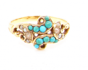 Victorian turquoise and pearl dress ring