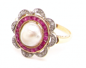 fine Art Deco pearl, ruby and diamond ring
